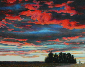 "Original Oil Pastel Landscape Drawing Sunset Skyscape Red Clouds Sky Eastern Townships Quebec Canada Audet ""Just Before The Night '' 16 x 24"