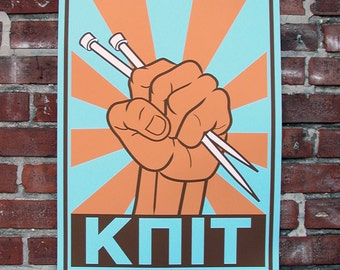 Knit Poster - Retro Big Softee Colors - Fist Holding Knitting Needles