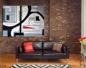 Huge Original Geometric Landscape Industrial Abstract Painting Black White Red Architectural Bauhaus Modern Kandinsky 30x40x1.5 Len Dickson