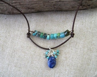 Gemstone Leather Necklace Blue Nile Lapis Turquoise Blue Green Bohemian Tribal Petite Leather Sundance Style