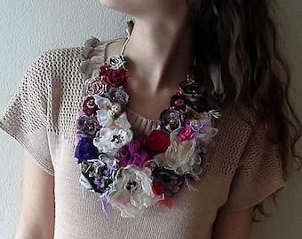 Purple Statement bib necklace,ivory fabric flower necklace, Handmade Bohemian Necklace , country wedding