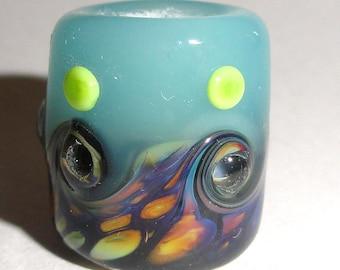 Dreaded Raku Seas..Handmade Lampwork Glass Bead Dreadlock Dread hair 8mm or 10mm hole water ocean aqua polka dots swirl scarf slider