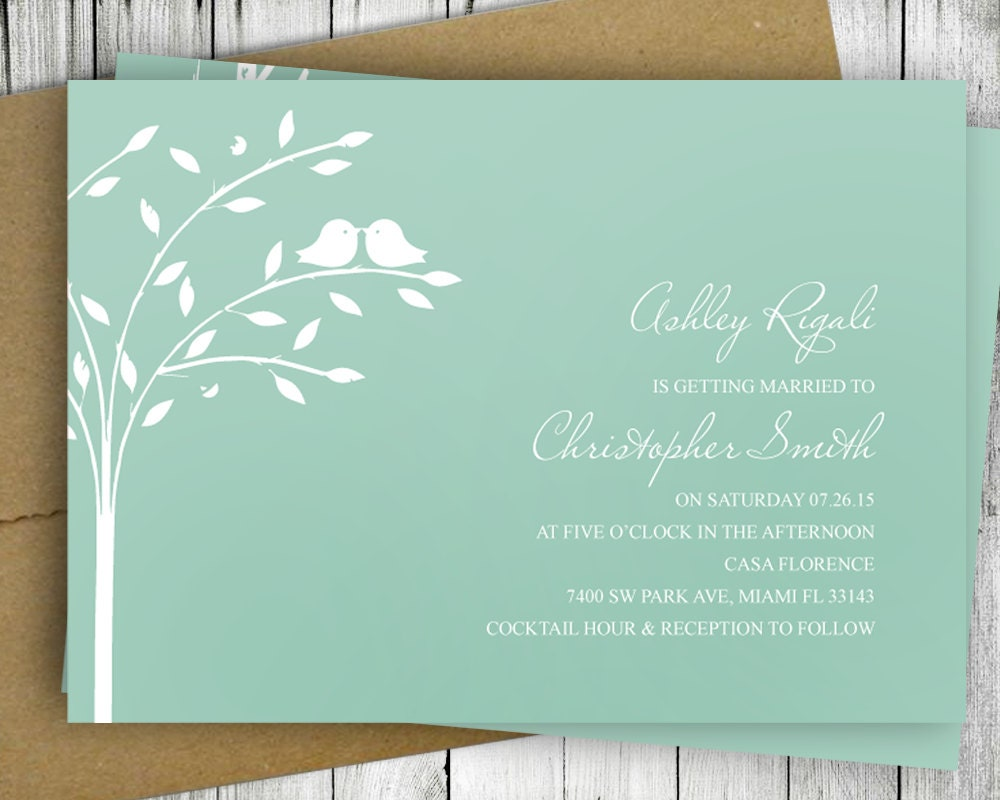 Bird Wedding Invitation: Love Bird Invitation Wedding Bridal Shower Printable Mint
