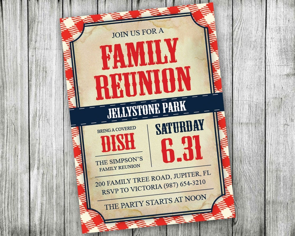 Printable Family Reunion Invitations Backyard BBQ
