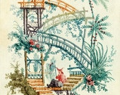 antique chinoiserie wallpaper illustration waterfall design digital download
