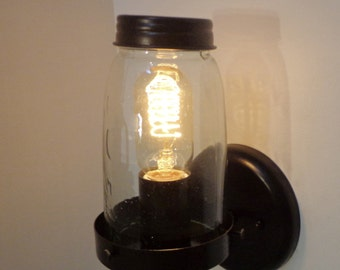 Mason Jar Wall Light Replica Greenish Jar LIMITED EDITION