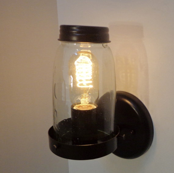 Wall Mounted Fruit Jar Lights : Mason Jar WALL LIGHT Replica Greenish Jar Limited by LampGoods