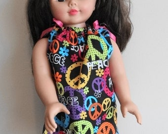 Doll Pillowcase Dress with Peace Signs for 18 in Fashion Doll, Doll Clothing, Pillowcase Dress, Doll Clothing, Toys, Dolls, Fashion Doll