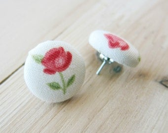 Vintage Rose Fabric Button Earring Set