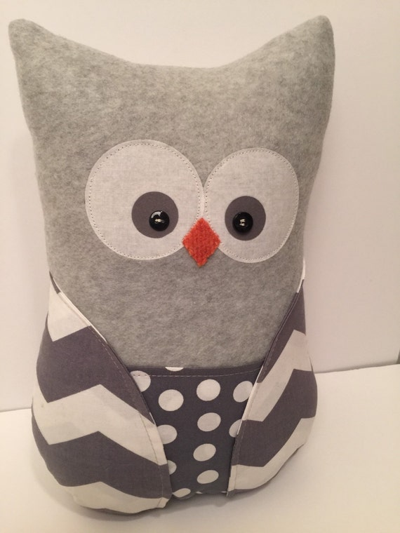 Owl pillow, fleece owl, stuffed owl, chevron, gray, polka dots, fleece