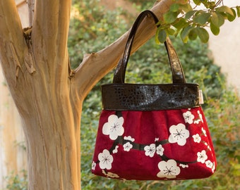 Cherry Blossom Purse with White Hand Painted Cherry Blossoms on Lipstick Red Suede with Faux Leather Trim