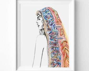 Bohemian Style, Fashion Illustration Art Print, Boho Girl Profile, Headscarf,  Moroccan Decor, Fashion Print, Pencil Drawing, Pastel Colors