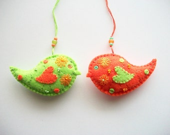 Felt Ornaments Bright Green and Orange Bird with Hand Embroidered Flowers and Felt Polka Dots Hand Embroidered Handsewn 2 pcs
