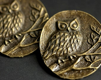 Two (2) Norse Shoulder Brooches. Owl Brooches. Bronze Apron Pins. Bronze Viking Brooches. Owl Jewelry. Historical Reenactment Jewelry.