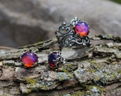 Dragon's Breath Ring, Dragon's Breath Earrings, Opal Ring, Autumn finds, Mexican Fire Opal Earrings, Mexican Fire Opal Ring, Vintage ring