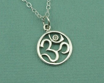 Buddhist Jewelry - Silver Om Necklace - Sterling Silver Om Jewelry, Ohm Necklace, Yoga Jewelry, Om Pendant, Yoga Teacher Gift, Yoga Gifts,