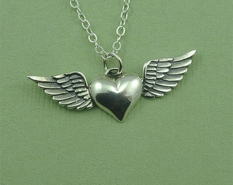 Heart with Wing Necklace - sterling silver heart wings jewelry - heart wings necklace