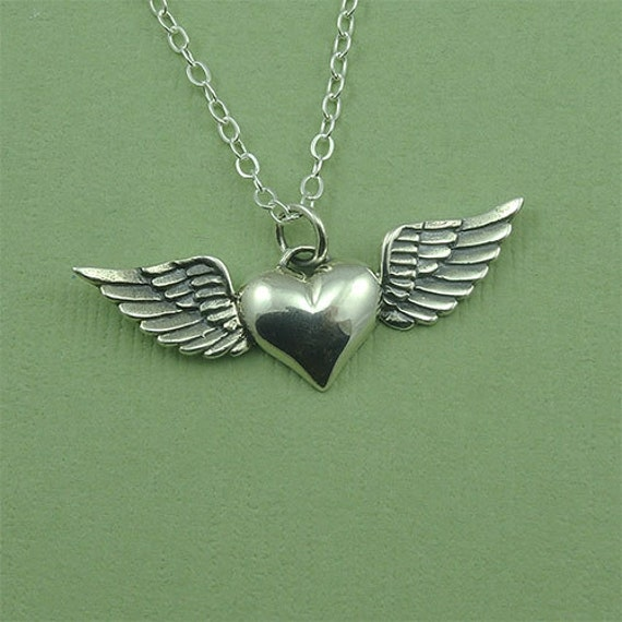 heart with wing necklace sterling silver heart wings jewelry