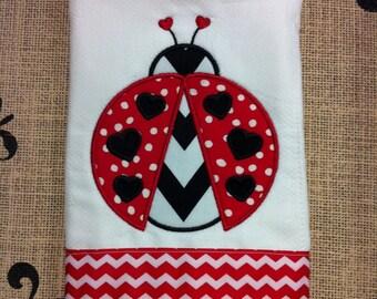 Chevron Ladybug Burp Cloth - Applique