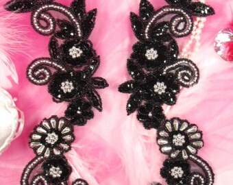 Appliques Black Silver Mirror Pair Set Sequin Beaded Costume Motfis for Clothing Crafts (0183X-bksl)