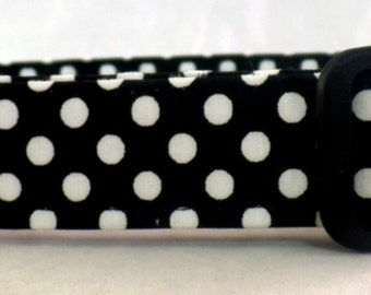 Ready and Retro White Polka Dots on Black Dog Collar