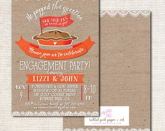 Burlap and Lace Engagement Party Invitation