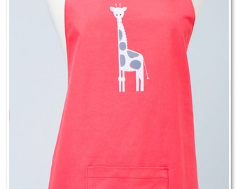 Adult Double Sided Appliqué Apron with Giraffe