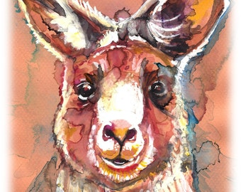POSTER SIZED Red Kangaroo Watercolor Painting Print, Artist-Signed