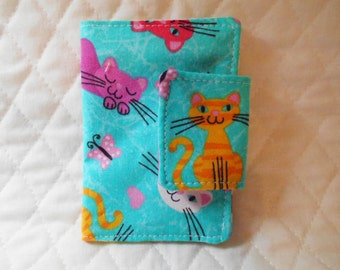 Kitty Cat Rewards Card /  Business / Credit  Card / Debit  Mini Case Holder with Velcro  Closure