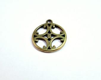 Antique brass round cross pendant / charm, 2