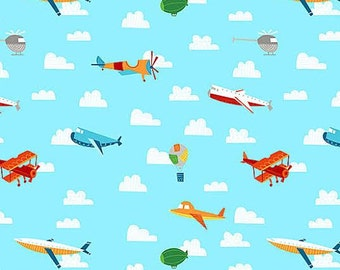 On The Go Fabric by Willmington Multicolored Whimsical Old Fashioned and New Air Planes in Sky with Clouds