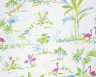 Chinoiserie Chic Fabric by Dena Designs 194 Paradise Flamingos and Palm Trees on White