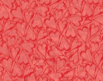 All My Heart Fabric by Clothworks Valentines Day Tossed Tonal Red Hearts on Pink Newspaper
