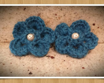 Crochet Newborn Photography Prop,Christmas Stocking Stuffers,Crochet Flowers,Pig Tails, Hair Accessories