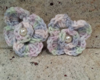 Girls hair accessorie Crochet Flower Pig Tails  Pony tails
