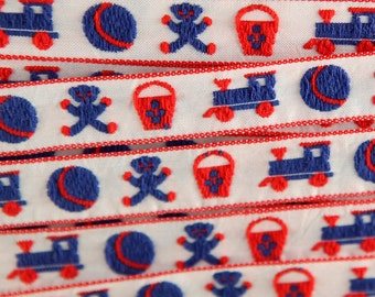 Trains Balls Bears Buckets VINTAGE Ribbon Trim Embroidered 9 YARDS 30 INCHES