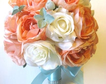 Wedding Bouquet Bridal flowers Silk 17 piece Package CORAL PEACH AQUA Blue Bridesmaid maid of honor boutonniere Centerpiece RosesandDreams