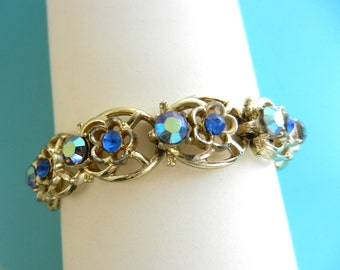 Coro Signed blue & pale blue AB Rhinestone Flower Bracelet- beautiful 1950 vintage bracelet in a dazzling flowers design - art.548/3-