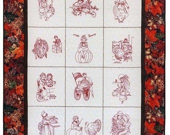 "Thanksgiving Blessings Hand Embroidery Quilt Pattern 42"" by 52"""
