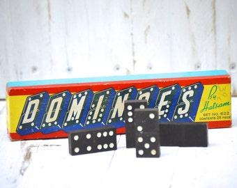 Vintage Dominoes Game . Original box . 28 pieces .  Halsam . Vintage Toy