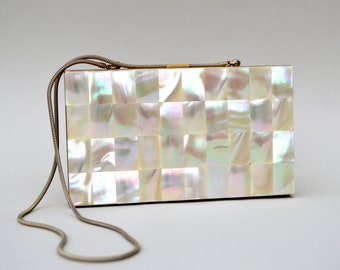 Art Deco Mother Of Pearl Compact Purse . Beautiful . Unique Purse
