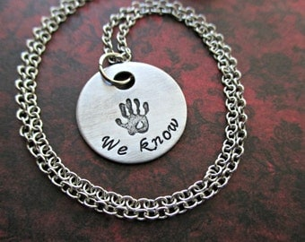 we know - hand stamped aluminum skyrim dark brotherhood inspired necklace