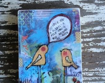 Love you a bushel and a peck, Bird,ACEO  Reproduction Mounted On Wood Block by Sunshine Girl Designs (2.5 x 3.5 Inches Print)