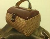 Vintage Brown Lucite Wicker Box Purse