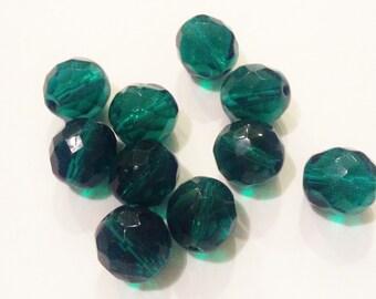 Antique Czech glass beads Teal green bead lot 10x round beads 1920s matte beads