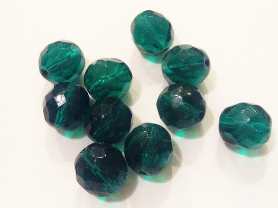 Antique Czech glass beads Teal green bead lot 10x round beads 1920s matte beads