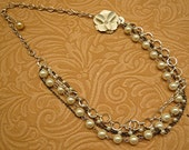 Pearl Flower Chains Tiered Paris Victorian Necklace