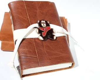 Leather Journal Leather Notebook Scrapbook - Teddy Bear