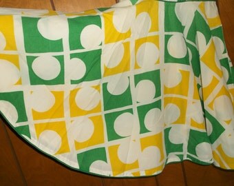 Vintage Sleeveless Dress • w/ Full Circle Skirt • small • white green and yellow