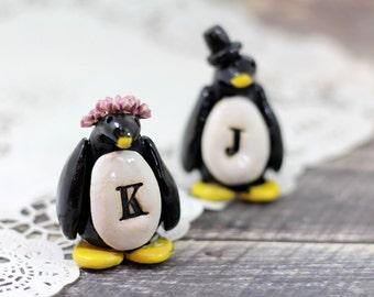 Custom Wedding cake topper Penguin cake topper Animal wedding topper  Wedding cake topper Bride and groom